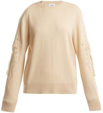 Barrie Timeless Distressed-sleeve Cashmere Sweater - Womens - Beige