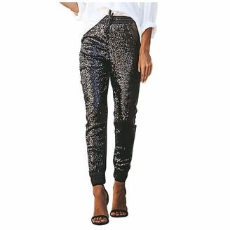 Jiegorge Pants Fashion Women Sequins Spliced Patchwork Elastic High Waist Long Pants Trousers