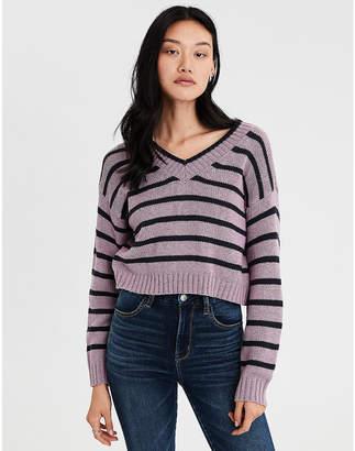 AE Striped V-Neck Pullover Sweater
