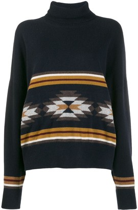 N.Peal Jacquard Roll Neck Jumper