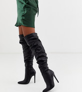 Asos Design DESIGN Carlotta slouch stiletto knee boot in black