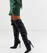Asos DESIGN Carlotta slouch stiletto knee boot in black