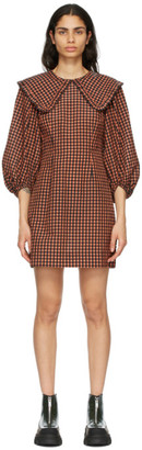 Ganni Black and Orange Seersucker Check Collar Mini Dress
