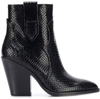 Ash Esquire snakeskin-effect ankle boots