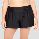 Ava & Viv Women's Plus Size Boyshort Swim Bottom - Black