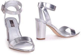 Linzi Millie Silver Metallic Open Toe Block Heels With Ankle Strap And Buckle Detail