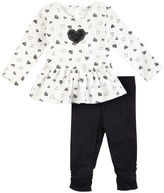 Petit Lem White Heart Peplum Top & Black Leggings - Infant