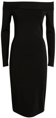 Victoria Beckham Off-The-Shoulder Fitted Midi Dress