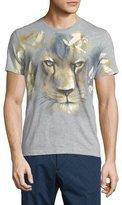 Etro Lion-Face Print Short-Sleeve T-Shirt, Gray