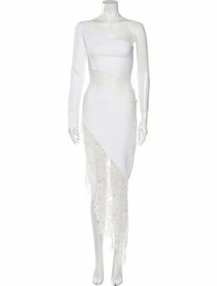 Rasario Lace Pattern Long Dress White