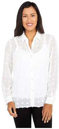 KUT from the Kloth Billa Button-Down Shirt with Long Sleeve (Off-White) Women's Clothing