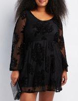 Charlotte Russe Plus Size Flocked Velvet Bell Sleeve Dress