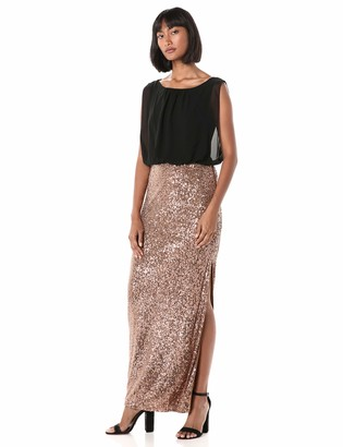Calvin Klein Women's Blouson Gown with Embellished Detailed Skirt Dress