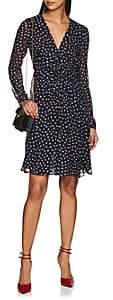 Derek Lam Women's Dot-Print Smocked-Front Silk Dress - Navy