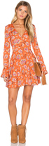 J.o.a. Long Sleeve V Neck Floral Dress