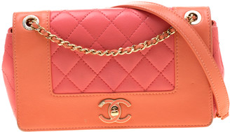 Chanel Coral Orange/Pink Quilted Leather Mademoiselle Vintage Flap Bag