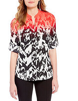 Calvin Klein Ombre Geometric Print Roll-Tab Sleeve Blouse