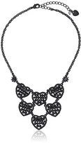 Betsey Johnson Pitch Black Woven Faceted Bead Heart Necklace