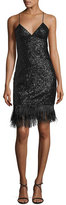 Milly V-Neck Sleeveless Sequined Cocktail Dress w/ Feather Hem