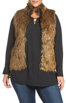 Foxcroft Plus Size Women's Zip Front Faux Fur Vest