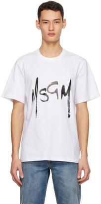 MSGM White New Brush Strokes Logo T-Shirt