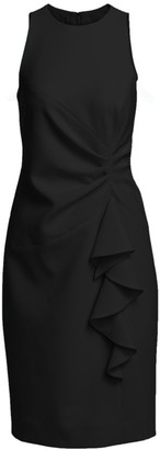 Teri Jon By Rickie Freeman Ruched Crepe Ruffle Dress
