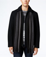 Calvin Klein Men's Wool-Blend Coat with Removable Scarf