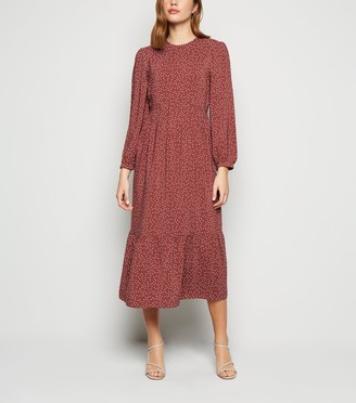 New Look Spot Long Sleeve Smock Dress