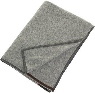 Oyuna Daya 100% Cashmere Throw - 180x120cm - Slate Grey & Brown