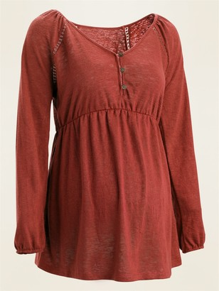 Old Navy Maternity Waist-Defined Jersey-Knit Henley Top