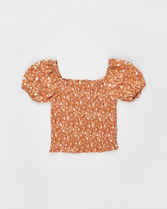 Cotton On Girl's Orange Short Sleeve Tops - Kate Puff Sleeve Top - Teens - Size 14 YRS at The Iconic