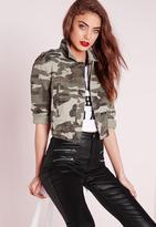 Missguided Cropped Camo Jacket Khaki