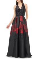 Carmen Marc Valvo Sequin & Floral Ballgown