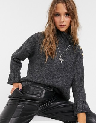 Topshop jumper with button shoulders in grey