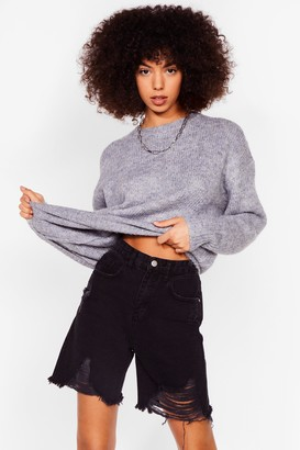 Nasty Gal Womens Such a Softie Knitted Crew Neck Jumper - Blue - S