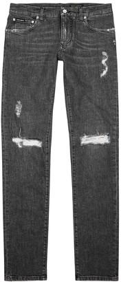 Dolce & Gabbana Grey distressed skinny jeans