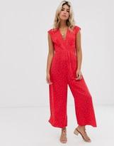 Asos DESIGN v neck tea jumpsuit in red polka dot with open back
