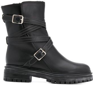 Gianvito Rossi Wraparound Buckle Chunky Heel Boots
