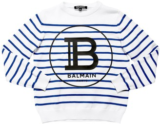 Balmain Striped Cotton Knit Sweater
