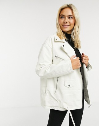 ASOS DESIGN oversized leather look biker jacket in white