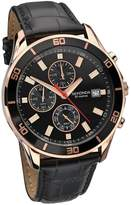 Sekonda Chronograph Rose Gold Tone And Black Leather Strap Mens Watch