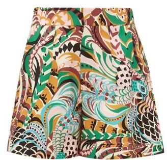 La DoubleJ Good Butt Peacock-print Silk Shorts - Multi