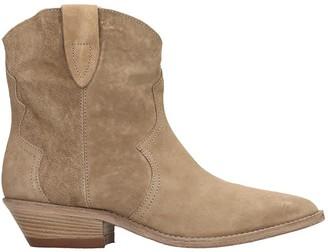 Julie Dee Texan Ankle Boots In Beige Suede