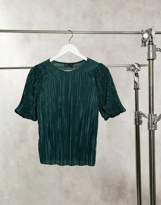 ASOS DESIGN puff sleeve plisse T-shirt in dark green