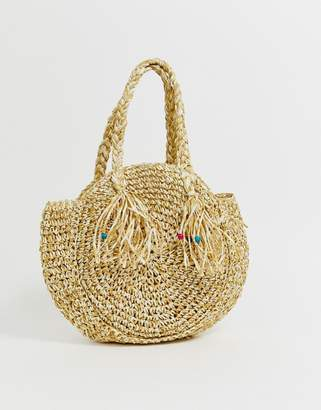 South Beach structured round straw beach bag with short handle-Tan