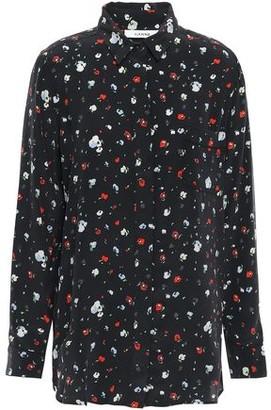 Ganni Floral-print Washed-silk Shirt