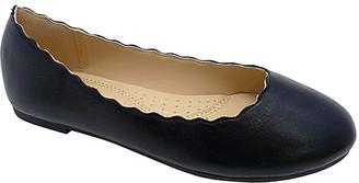 Wild Diva Women's Ballet Flats BLACK - Black Scallop-Trim Dana Flat - Women