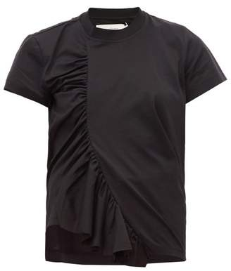Marques Almeida Marques'almeida - Asymmetric Ruched Cotton T-shirt - Womens - Black