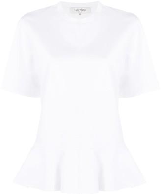 Valentino Short-Sleeve Ruffled Hem Blouse