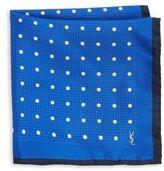 Saint Laurent Polka Dotted Silk Pocket Square
